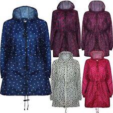 New Womens Parka Printed Kagoul Waterproof Raincoat lightweight Jacket Mac S-5XL