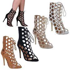 Tacco alto a stiletto taglio Lacci ingabbiate open toe alla Caviglia Stivali Scarpe Taglia