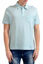 Malo Men's Linen Striped Short Sleeve Polo Shirt Size S M XL 2XL