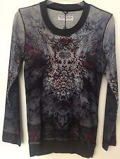 LISA CAMPIONE Damen Langarm Shirt Grau/Bordeaux, Motiv, Rundhals, Größen 36, 40