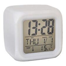 Square Digital Mini Alarm Clocks Bedroom Desk Travel Snooze Temperature Display
