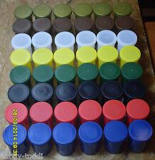 Geocaching Geocache- Filmdose rot, weiß, blau, gelb, gruen, schwarz, gold, braun