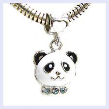Sterling Silver Lovely Panda Enamel with CZ Bead for European Charm Bracelet