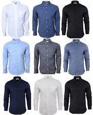 New Mens Crosshatch ALMOND Casual Long Sleeve Plain Shirt Cotton S-XL 4 Colours