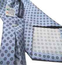 CRAVATTA sette pieghe uomo azzurra con microdis grigi sfoderata di seta stampata
