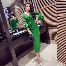 Elegante vestito abito scollato tubino verde lungo maniche campana  comodo 3975
