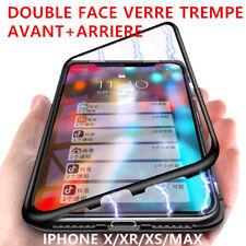 Coque Magnétique Verre trempé AVANT+ARRIERE Pour iPhone XR XS XS MAX 8 7 Plus