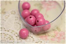 Perle sfuse tonde bigiotteria plastica -50pz- round beads colore fucsia 16mm