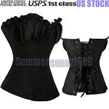 Plus size S-6XL Sexy Black Steampunk Renaissance Corset Lace Up boned Bustier SY