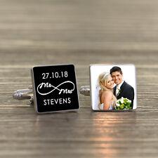 Personalised Silver Plated Mr & Mrs Infinity Wedding Photo Cufflinks