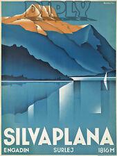 REPRO DECO AFFICHE SILVAPLANA ENGADIN SURLEJ MONTAGNE LAC  190 OU 310 GRS