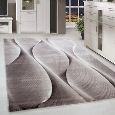 Moderner Kurzflor Teppich Karo abstakt Gemustert Beige Weiss Meliert Wohnzimmer