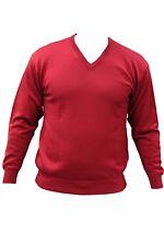 Maglia da uomo rossa ConteofFlorence scollo V manica lunga lana vergine casual