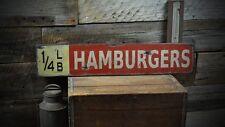 Quarter Pound Hamburger Vintage Sign - Rustic Hand Made Vintage Wooden ENS100017