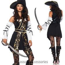 CA81 Leg Avenue Black Sea Buccaneer Pirate Womens Fancy Dress Halloween Costume