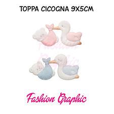 TOPPA PATCH CICOGNA ORSETTO ROSA CELESTE 9 X 5,5 CM BABY NEONATO CORREDINO
