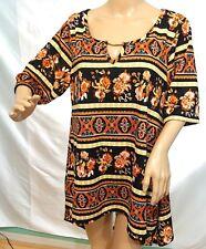 Lexington Avenue Women Plus Sz 1x 2x 3x Brown Black Floral Asym Tunic Top Blouse