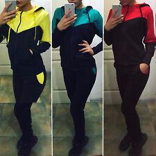 Womens 2Pcs Sport Top Sweatshirt Pants Set Sweat Suit Tracksuit Gym Jogger Sport