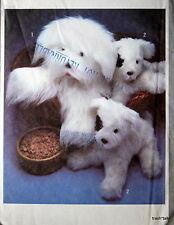 "Vtg 70s stuffed animal craft pattern english sheep dog puppy 15"" 23"" FF"