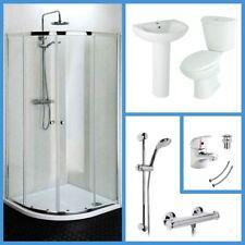 Quadrant Shower Enclosure WC & Basin Bathroom Suite Set with Tap & Shower