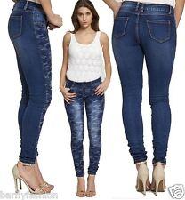 Nuevas DAMAS Azul Camuflaje Leopardo Floral Rodilla Corte Ripped Skinny Fit Denim Jean