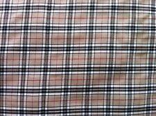 BEIGE BROWN TARTAN PATTERN CHECK FABRIC CLOTH - QUALITY WOVEN - PER METRE