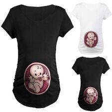 Women Pregnancy Maternity Summer Baby Print Short Sleeve T Shirt Tops Blouse Tee