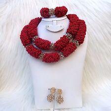 PrestigeApplause Elegant Dark Red Bridal African Nigerian Beads Jewellery Set UK
