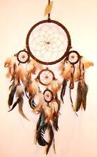 Grand native Dreamcatcher en cuir en daim marron foncé 60cm drop / dcle16tridbr