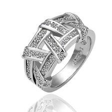 18K White Gold Plated Solid Wedding Engagement Ring SWAROVSKI Crystal Size 10