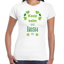 Keep Calm And Irish On - Ladies T shirt - St Patricks Day Irish Gift