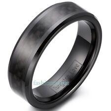 8mm/6mm Ceramic Rings W Black Carbon Fiber Inlaid Men's Women's Unisex Band