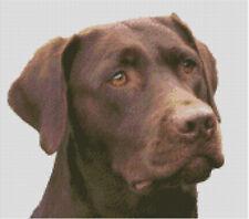 Cross stitch chart, pattern, Brown Labrador, Gun, Dog, Lab, Retriever, Chocolate