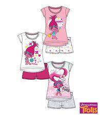 Pyjama court LES TROLLS enfant fille t-shirt et short 100% coton NEUF 4-10 ans