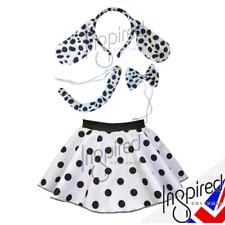 "Girl HALLOWEEN Costume DALMATIAN Fancy Dress COSTUME 12"" SKIRT Set Ears Tail"