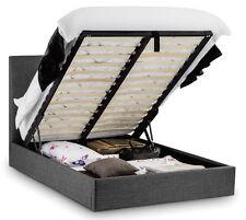 Contemporary Linen Slate Grey Bed Deep Diamond Buttons Shape Under Storage
