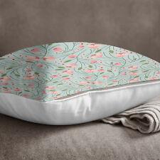 S4Sassy Floral imprimé poussiéreux Aqua couverture jeter coussin taie décorative