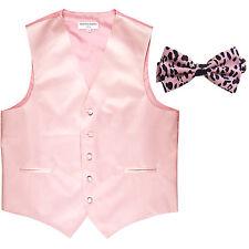 New Men's Formal Vest Tuxedo Waistcoat light pink with Leopard pink Bowtie prom
