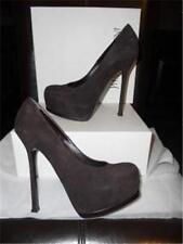 YSL Yves Saint Laurent Tribtoo 105 Suede Pumps Shoes Heels Chocolate Brown $795