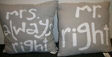 Dekokissen Kissen Couchkissen mit Reißverschluss und Füllung Mr. and Mrs. beige