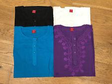 Fair Trade Indian Embroidered Cotton Kurta Kaftan Tunic Top with Long Sleeves