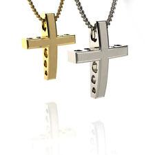 Christening White Gold 14K/18K Boy's Solid Baptism Cross Pendant Necklace NEW