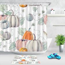 Watercolor Thanksgiving Fall Harvest Pumpkin Shower Curtain Set Bathroom Decor