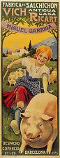 SAUSAGE OF VIC BARCELONA GIRL PIG FRAMING SPAIN VINTAGE POSTER REPRO SMALL