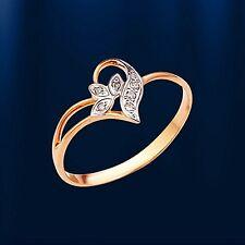 Russische Rose Gold 585 Goldring Ring mit Diamanten Niedlich