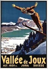 Vintage Swiss Valley de Joux Ski Jumping Poster A3/A2/A1 Print