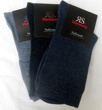 3 Paar Damen Socken ohne Gummi mit extra weichem Softrand 3 Blautöne 35 bis 42