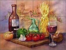 Ceramic Tile Mural Backsplash Hoyle Tuscan Wine Food Kitchen Art RW-SH002