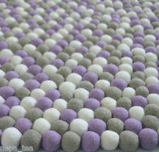 Children Felted Ball Rug Round Carpet Nursery Room Handmade Playmat 100% Wool
