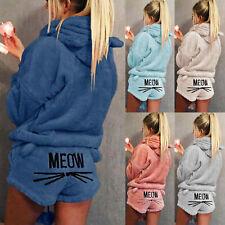 Damen Fleece Pyjama Nachtwäsche Schlafanzug Hausanzug Kapuzenpullover Shorts 48